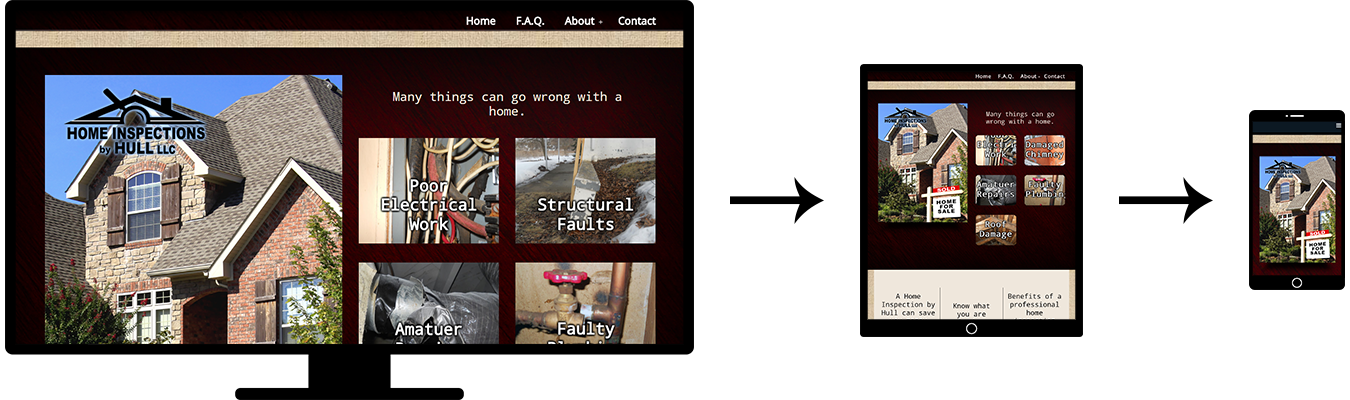 Image of three screenshots showing the responsive design of the Home Inspection by Hull website