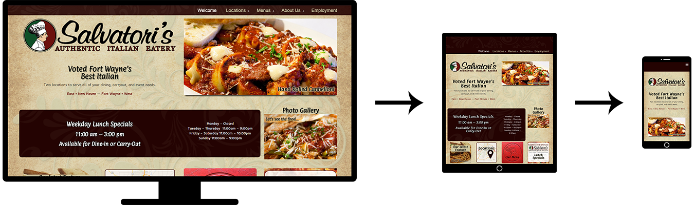 Image of three screenshots showing the responsive design of the Salvatori's website